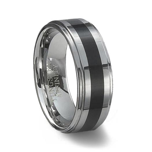 Tungsten Carbide Wedding Ring Black Resin Inlay