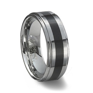 Polished Tungsten Carbide Wedding Ring & Black Resin Inlay
