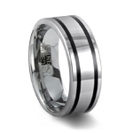 Polished Tungsten Carbide Ring & 2 Black Resin Inlays