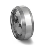 Polished Tungsten Band with Brushed Beveled Edges