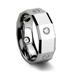 Mens Polished Faceted CZ Tungsten Wedding Ring