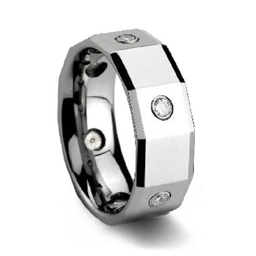 mens polished faceted cz tungsten wedding ring - Tungsten Wedding Rings
