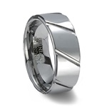 Polished Finish Tungsten Carbide Ring & Diagonal Grooves