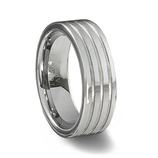 Polished Tungsten Carbide Ring & Triple Grooves Channels