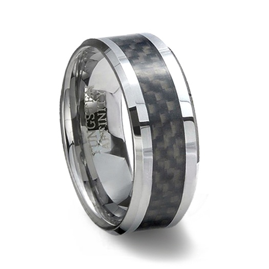 tungsten carbide ring black carbon fiber inlay - Carbon Fiber Wedding Rings