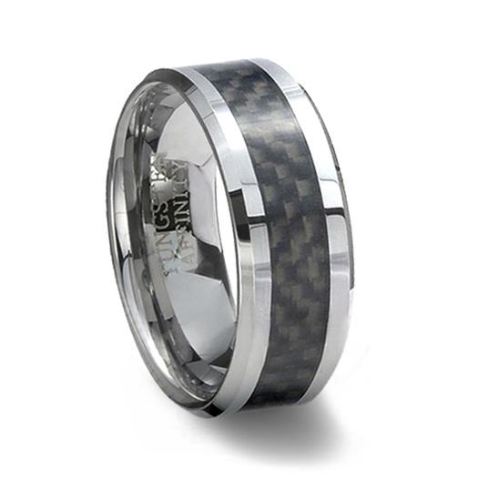 Tungsten Carbide Ring Black Carbon Fiber Inlay