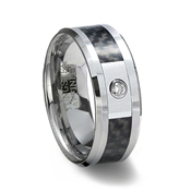 Tungsten Carbide Ring with Cubic Zirconia & Black Carbon Fiber Inlay