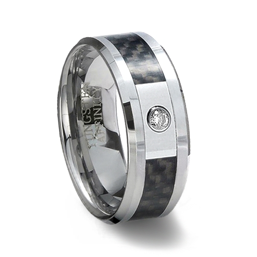 b4e49381a32537 Tungsten Carbide band with Cubic Zirconia & Black Carbon Fiber Inlay