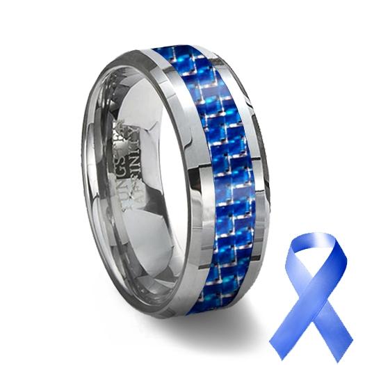 Tungsten Carbide Ring Blue Carbon Fiber Inlay Blue Wedding Ring