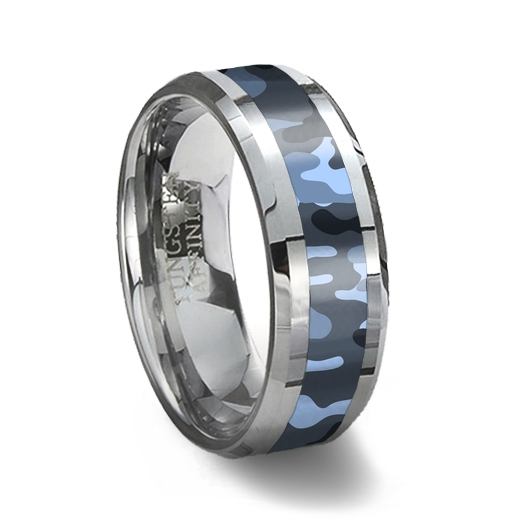 Tungsten Carbide Ring Blue Camouflage Camouflage Wedding Ring