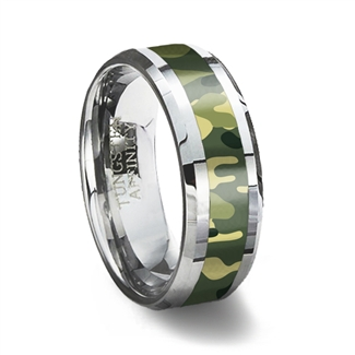 Green Camouflage Inlay Tungsten Wedding Ring
