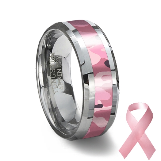 Tungsten Carbide Ring Pink Camouflage Camouflage Wedding Ring