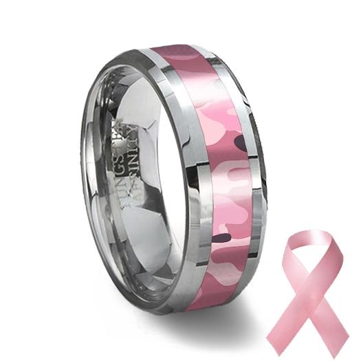 pink camouflage tungsten wedding ring - Pink Camo Wedding Ring
