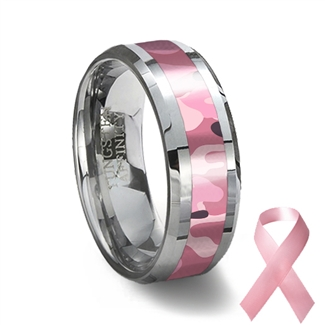 Pink Camouflage Tungsten Wedding Ring