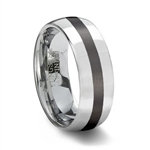 Polished Tungsten Carbide Wedding Ring & Black Ceramic Inlay