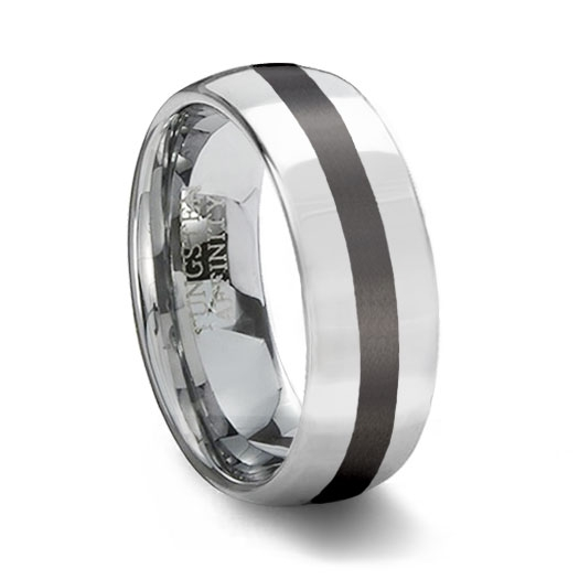 polished tungsten carbide wedding ring black ceramic inlay - Ceramic Wedding Rings