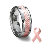 Pink Carbon Fiber Tungsten Wedding Ring