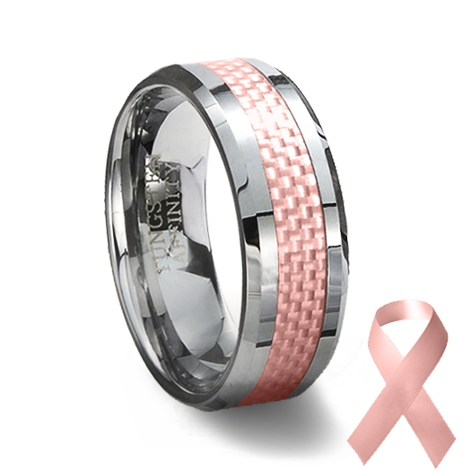 Tungsten Carbide Ring Pink Carbon Fiber Inlay Pink Wedding Ring