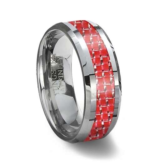 red carbon fiber tungsten wedding ring - Red Wedding Rings