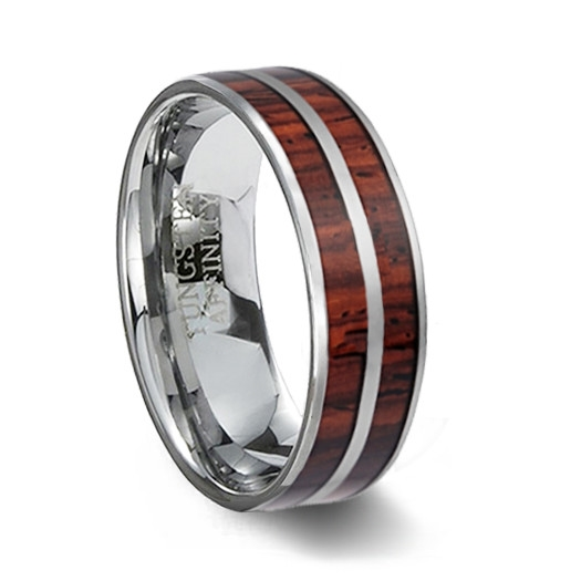 Tungsten Carbide Ring Two Wood Inlays Wood Wedding Ring