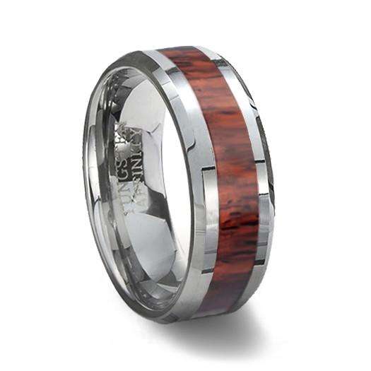 wood inlay tungsten wedding ring - Tungsten Wedding Ring