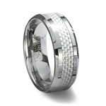 Tungsten Carbide Ring & White Carbon Fiber Inlay