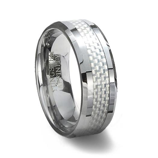 tungsten carbide ring white carbon fiber inlay