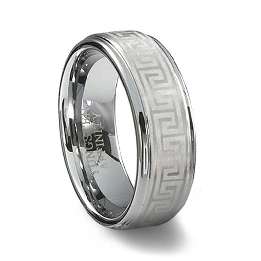 Greek key wedding bands