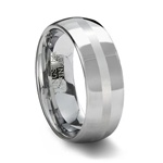 Polished Tungsten Wedding Ring Satin Center