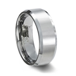 Polished Finish Tungsten Carbide Wedding Band & Polished Beveled Edge