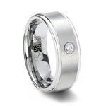 Brushed White Tungsten Wedding Band with Solitaire CZ & Step Edges