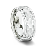 White Tungsten Ring with Hammered Finish