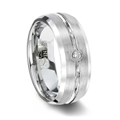 Mens White Tungsten Wedding Band with CZ Stone