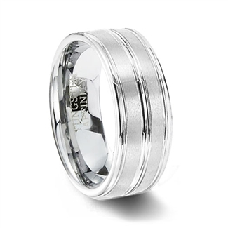 Brushed White Tungsten Wedding Band