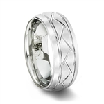 Brushed White Tungsten Carbide Grooved Wedding Ring