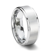 Brushed White Tungsten Carbide Wedding Ring with Step Edge