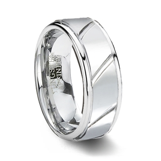 Polished Finish White Tungsten Ring with Diagonal Grooves & Step Edge
