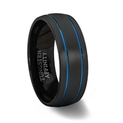 Brushed Black Tungsten Carbide Rounded Ring with Brushed Finish & 2 Blue Grooves