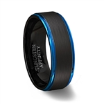 Brushed Black Tungsten Carbide Ring Polished Blue Step Edges