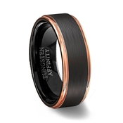 Brushed Black Tungsten Carbide Ring Polished Rose Gold Step Edges