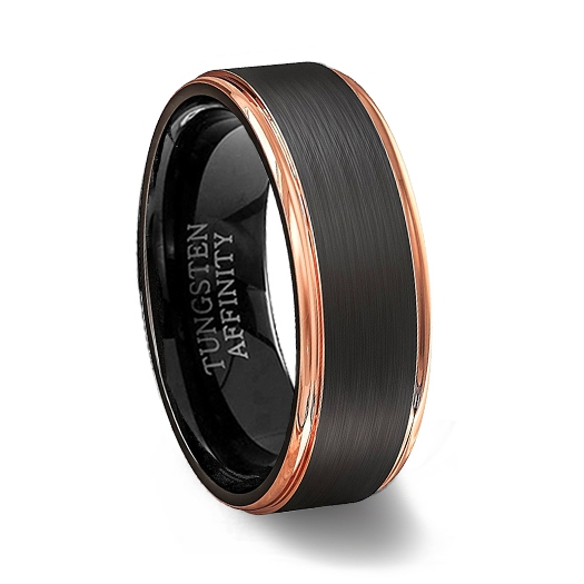 Tungsten Wedding Rings.Black Brushed Tungsten Carbide Ring With Rose Gold Step Edges