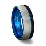 Brushed Finish Dome Tungsten Carbide Ring with Black Edge and Blue Offset Groove - Blue Inner Band