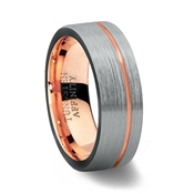 Brushed Tungsten Carbide Ring Pipe Cut Ring with Rose Gold Offset Channel & Rose Gold Inner Band