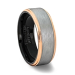 Brushed Tungsten Carbide Ring with Polished Rose Gold Plated Double Bevel Edges & Black inner band