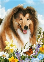 Collie Spaniel Small Decorative Garden Flag