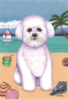 Bichon Frise on the Beach Flag SaltyPaws.com