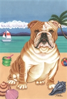 English Bulldog on the Beach Flag SaltyPaws.com