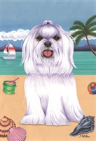 Maltese on the Beach Flag SaltyPaws.com