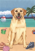 Labrador Retriever Yellow on the Beach Flag SaltyPaws.com