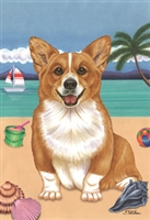 Corgi on the Beach Flag SaltyPaws.com